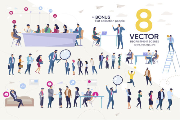 Download Free Vector Recruitment Scenes Graphic By Teravector Creative Fabrica for Cricut Explore, Silhouette and other cutting machines.