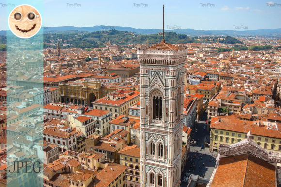 Print on Demand: View of Duomo at Center of Florence Graphic Architecture By TasiPas