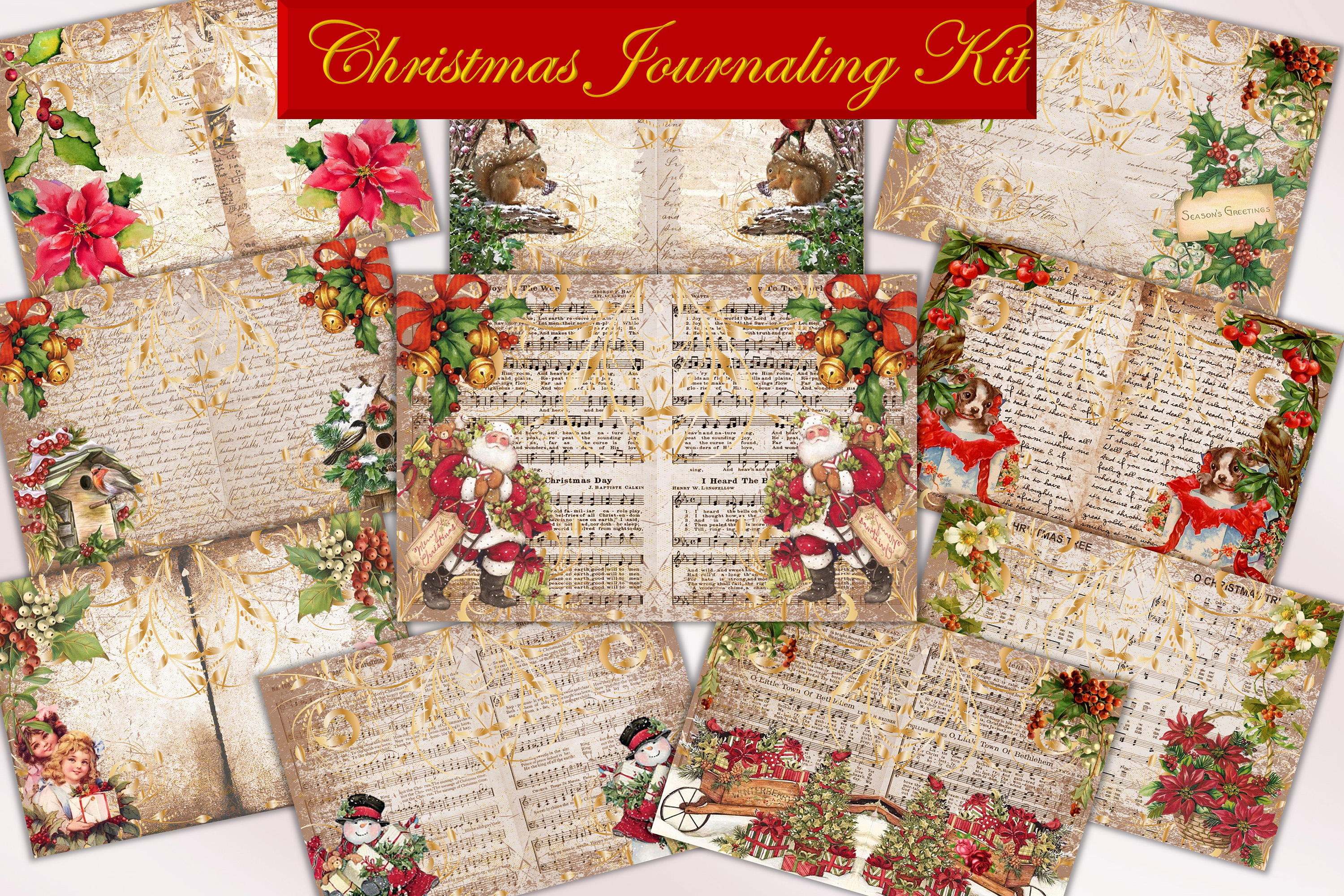 Download Free Vintage Christmas Journal Kit Ephemera Graphic By The Paper for Cricut Explore, Silhouette and other cutting machines.