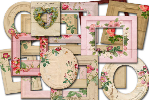 Print on Demand: Vintage Floral Frames Graphic Illustrations By retrowalldecor