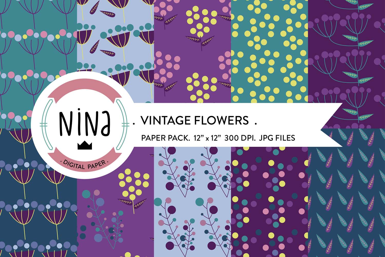 Download Free Vintage Flowers Digital Paper Pack Graphic By Nina Prints for Cricut Explore, Silhouette and other cutting machines.