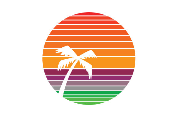 Download Free Vintage Striped Sunset With Palmtree Svg Cut File By Creative for Cricut Explore, Silhouette and other cutting machines.