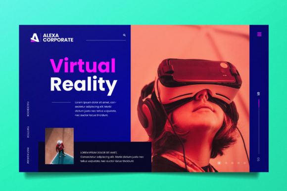 Virtual Reality Web Header PSD and AI Graphic UX and UI Kits By alexacrib83