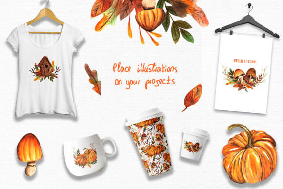 Watercolor Autumn Collection Graphic By tanatadesign Image 5