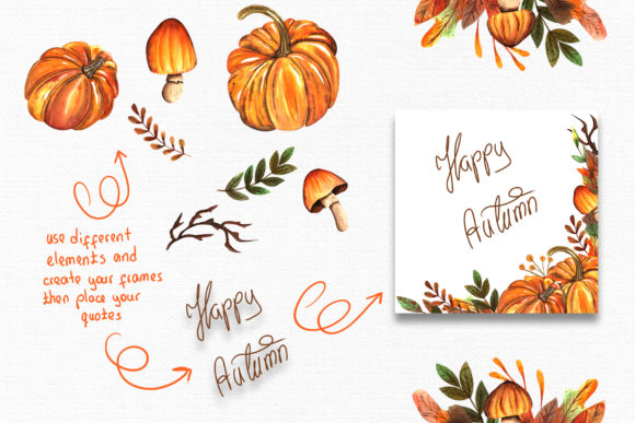 Watercolor Autumn Collection Graphic By tanatadesign Image 6