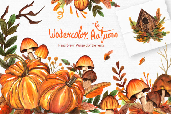 Print on Demand: Watercolor Autumn Collection Graphic Illustrations By tanatadesign