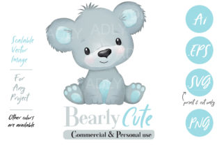 Watercolor Baby Bear in Gray and Blue Graphic By adlydigital