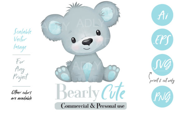 Print on Demand: Watercolor Baby Bear in Gray and Blue Graphic Illustrations By adlydigital