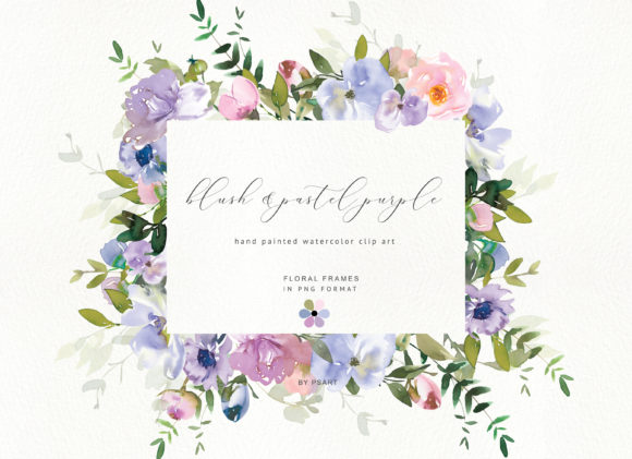 Watercolor Floral Clipart Blush Purple Graphic Illustrations By Patishop Art