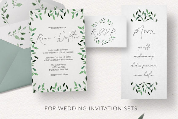 Print on Demand: Watercolor Foliage Design Set Graphic Patterns By nantia