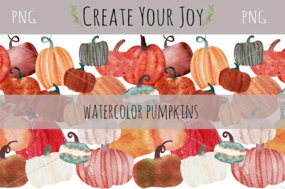 Print on Demand: Watercolor Pumpkins Graphic Illustrations By Create Your Joy