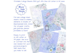 Watercolor Rose Printable Collage Papers Graphic By MarcyCoateDesigns