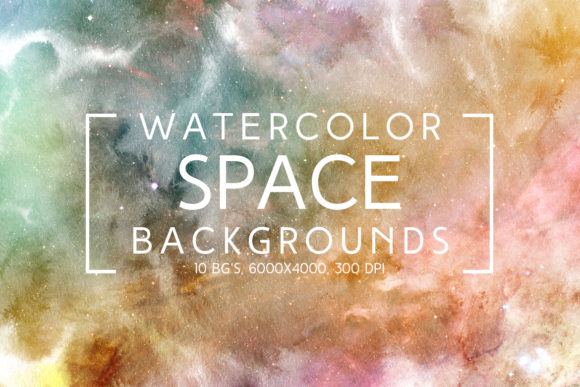 Print on Demand: Watercolor Space Backgrounds Graphic Backgrounds By freezerondigital