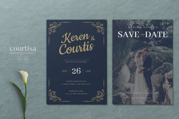 Wedding AI and PSD Invitation Graphic Print Templates By alexacrib83
