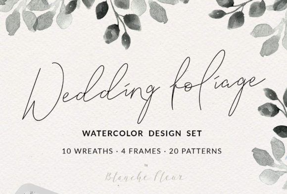 Print on Demand: Wedding Foliage Design Set Graphic Illustrations By nantia