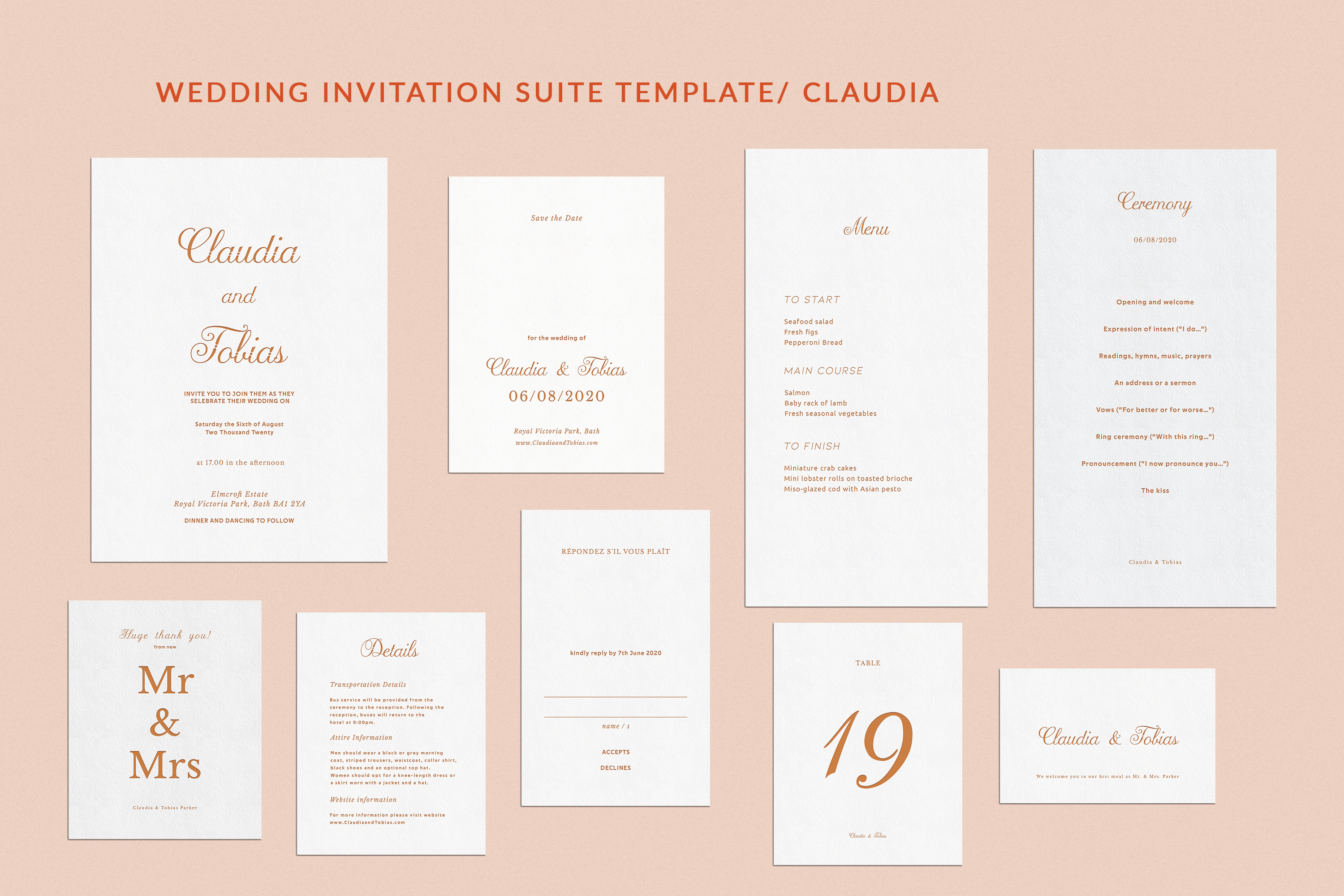 Download Free Wedding Invitation Suite Claudia Graphic By Primafox Design for Cricut Explore, Silhouette and other cutting machines.