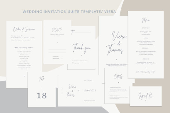 Print on Demand: Wedding Invitation Suite Viera Graphic Print Templates By Primafox Design - Image 1
