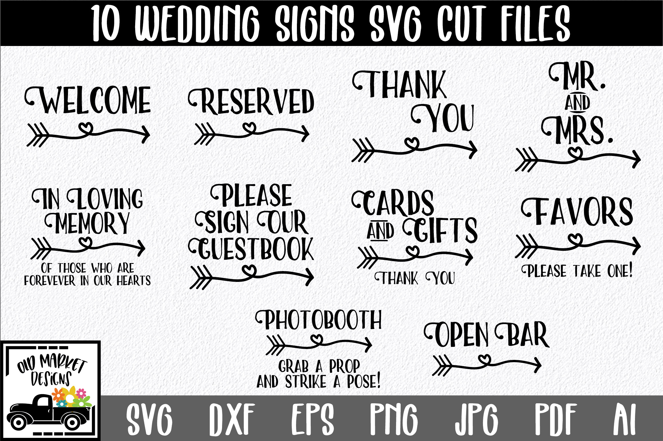 Download Free Wedding Signs Graphic By Oldmarketdesigns Creative Fabrica SVG Cut Files