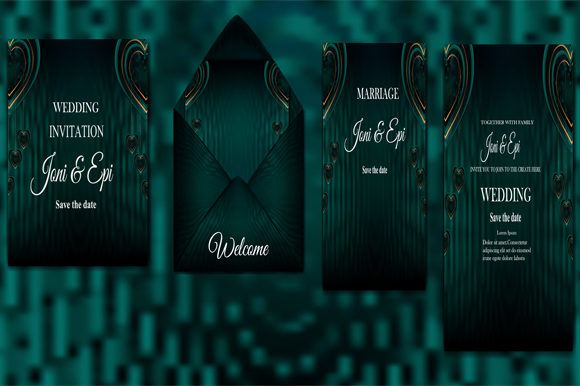 Download Free Wedding Invitation Label Card Design Graphic By Imammuslim835 for Cricut Explore, Silhouette and other cutting machines.