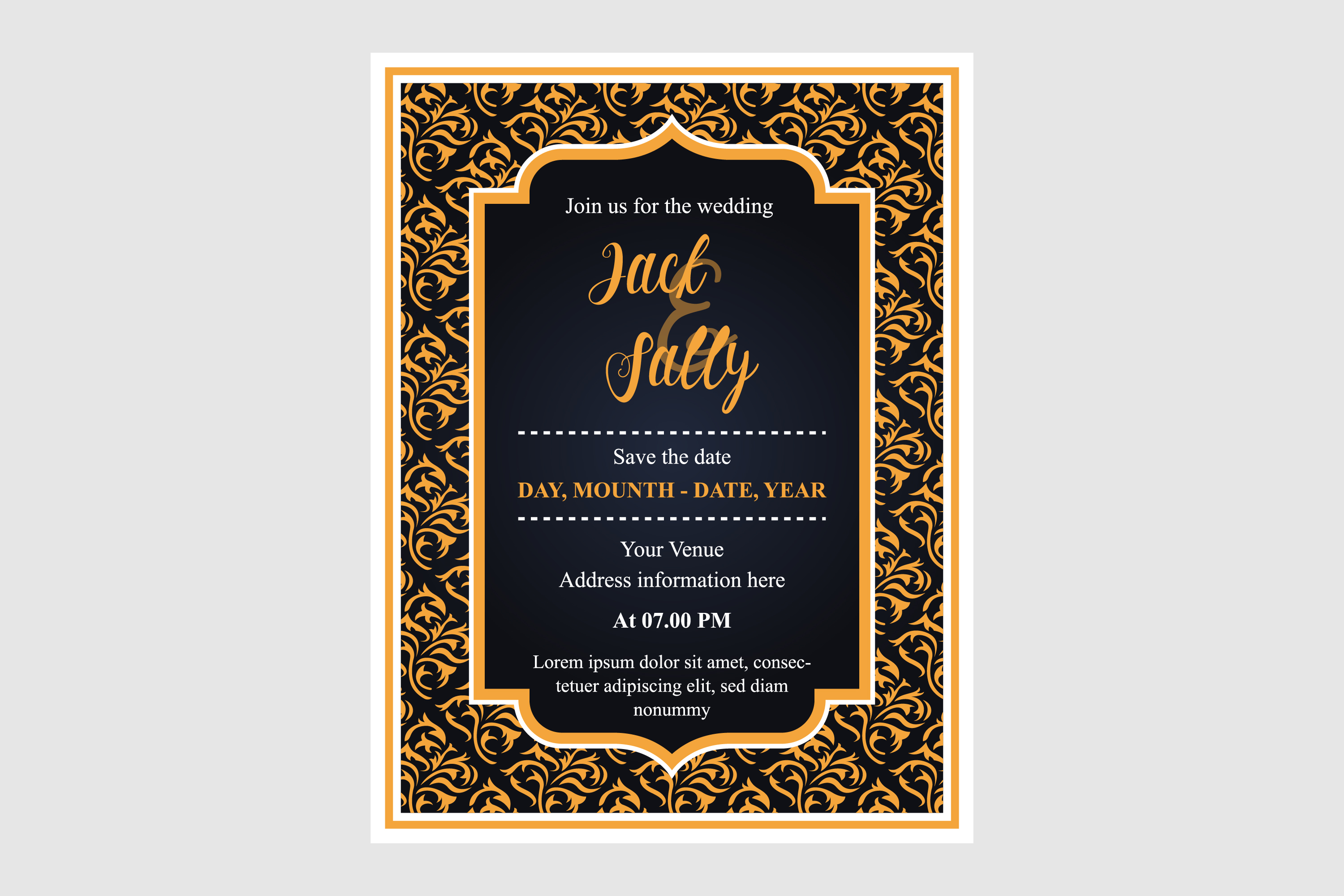 Download Free Wedding Invitation Gold Pattern Graphic By Noory Shopper for Cricut Explore, Silhouette and other cutting machines.