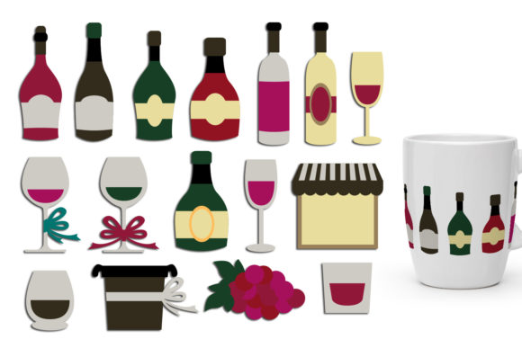 Print on Demand: Wine Bottles and Glasses Graphic Illustrations By Revidevi - Image 1