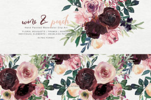 Wine and Peach Floral Bouquet Clipart Graphic By Patishop Art