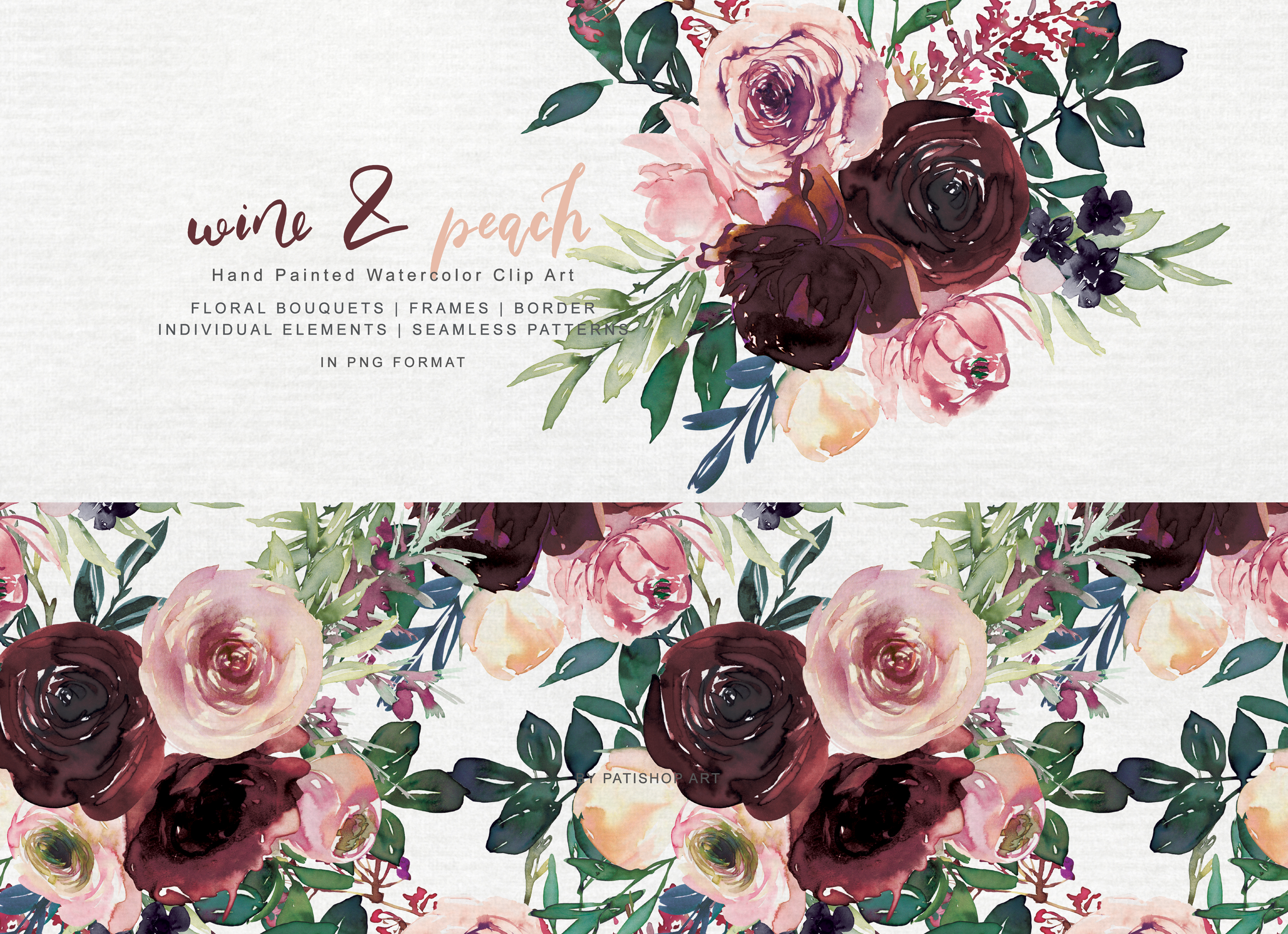 Download Free Wine And Peach Floral Bouquet Clipart Graphic By Patishop Art for Cricut Explore, Silhouette and other cutting machines.