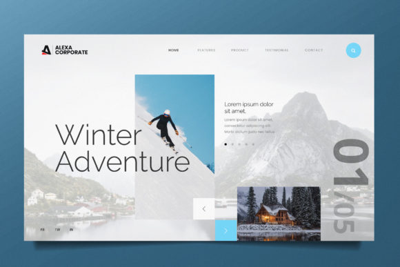 Winter Adventure Web Header PSD and AI Graphic UX and UI Kits By alexacrib83