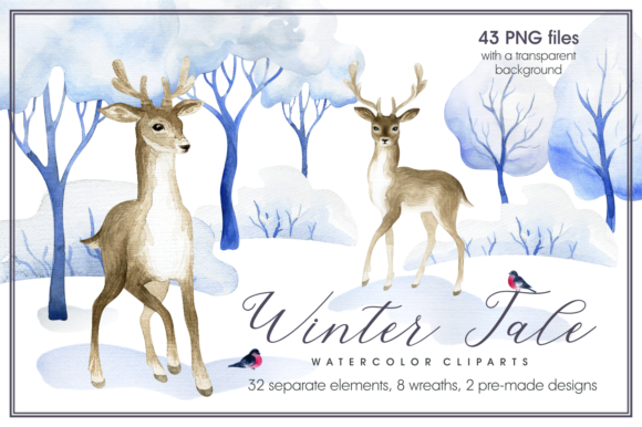 Winter Tale. Watercolor Clipart Graphic By Olga Belova