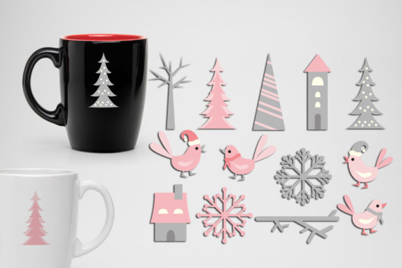 Print on Demand: Winter Pink Grey Graphic Illustrations By Revidevi