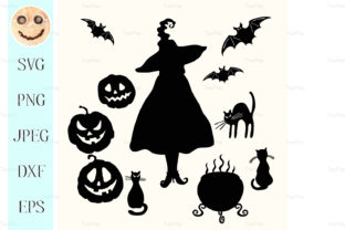 Download Free Witch Pumpkin Lantern Cat Graphic By Tasipas Creative Fabrica for Cricut Explore, Silhouette and other cutting machines.