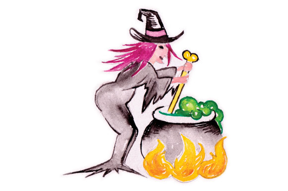Witch Stirring Cauldron in Watercolor Halloween Craft Cut File By Creative Fabrica Crafts