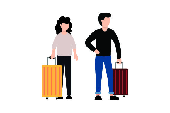 Woman and Man with Rolling Suitcases Travel Craft Cut File By Creative Fabrica Crafts