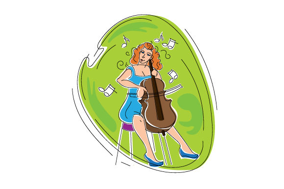 Download Free Woman Playing Cello In Abstract Print Art Style Svg Cut File By SVG Cut Files