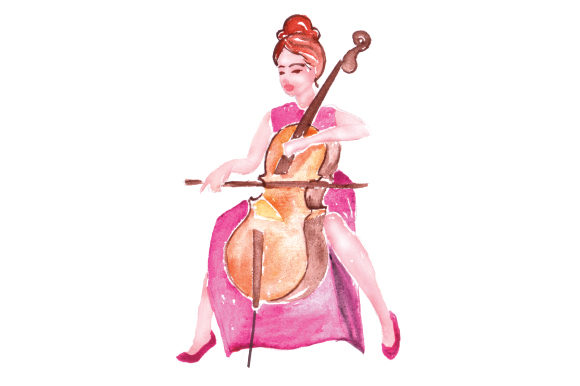 Woman Playing Cello In Watercolor Svg Cut File By Creative