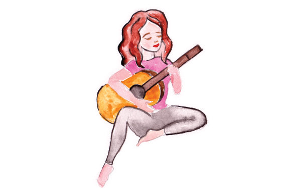 Woman Playing Guitar Music Craft Cut File By Creative Fabrica Crafts - Image 1