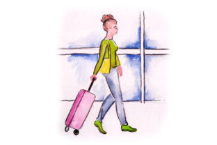 Woman with Suitcase at Airport in Watercolor Craft Design By Creative Fabrica Crafts