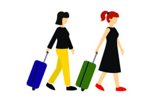Women with Rolling Suitcases Craft Design By Creative Fabrica Crafts