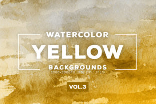 Print on Demand: Yellow Watercolor Backgrounds 3 Graphic Backgrounds By ArtistMef