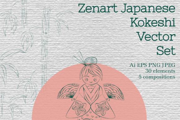 Zenart Japanese Kokeshi Vector Set Graphic Illustrations By Tatyana_Zenartist