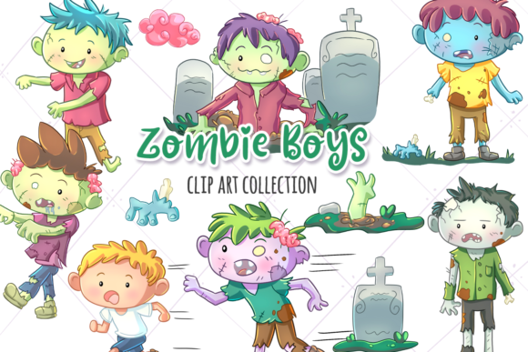 Print on Demand: Zombie Boys Clip Art Collection Graphic Illustrations By Keepinitkawaiidesign