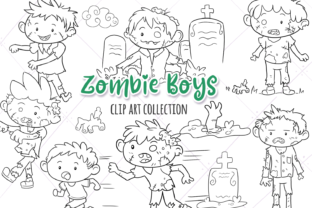 Zombie Boys Digital Stamps Graphic By Keepinitkawaiidesign