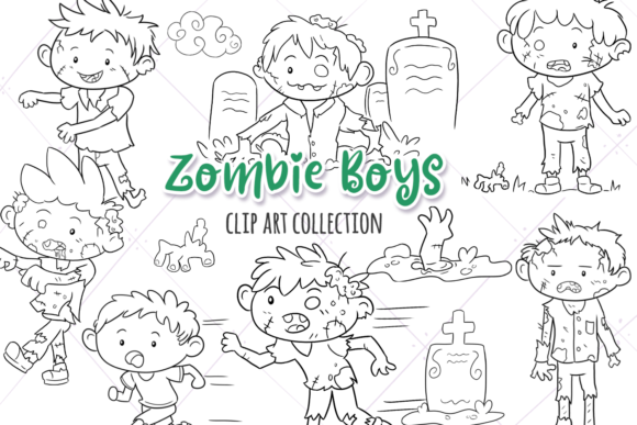 Print on Demand: Zombie Boys Digital Stamps Graphic Illustrations By Keepinitkawaiidesign - Image 1