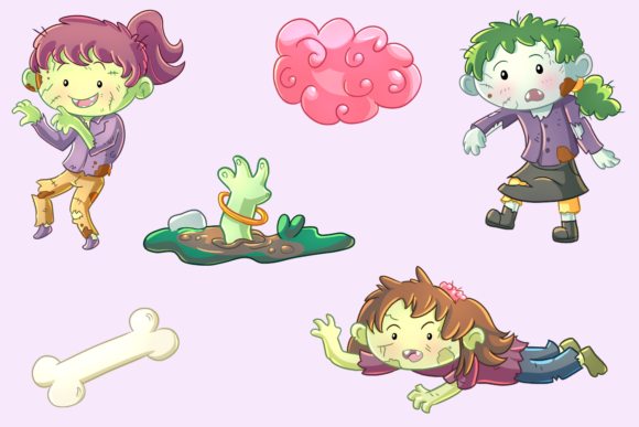 Download Free Zombie Girls Clip Art Collection Grafico Por for Cricut Explore, Silhouette and other cutting machines.