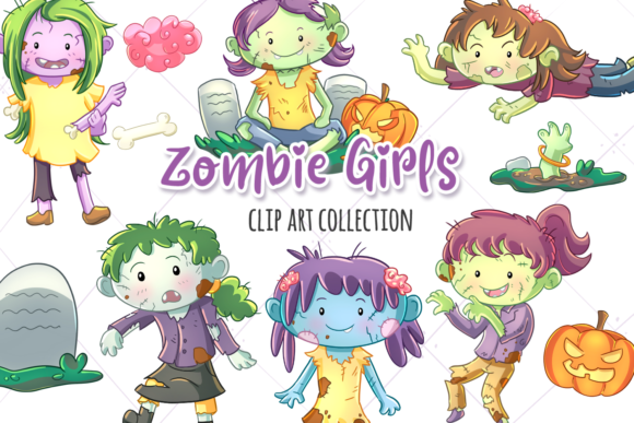 Print on Demand: Zombie Girls Clip Art Collection Graphic Illustrations By Keepinitkawaiidesign