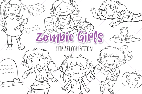 Print on Demand: Zombie Girls Digital Stamps Grafik Illustrationen von Keepinitkawaiidesign