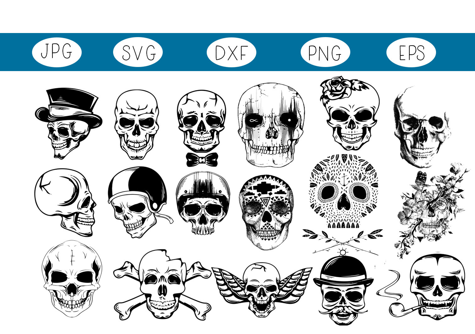 Download Free 17 Cool Skulls Graphic By Capeairforce Creative Fabrica for Cricut Explore, Silhouette and other cutting machines.