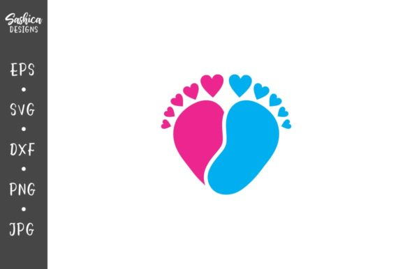 Download Free Seamless Pattern Of Baby Feet And Heart Graphic By Sashica SVG Cut Files
