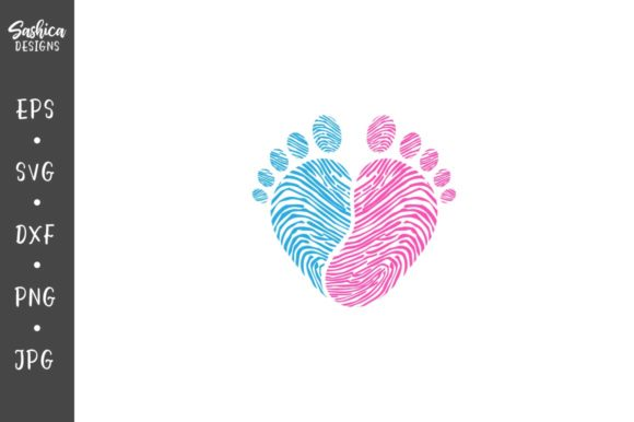 Download Free Baby Footsteps In Shape Of A Heart Graphic By Sashica Designs for Cricut Explore, Silhouette and other cutting machines.