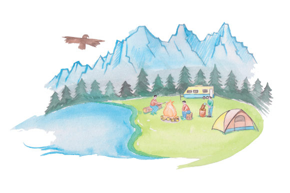 Download Free Campsite In Watercolor Svg Cut File By Creative Fabrica Crafts for Cricut Explore, Silhouette and other cutting machines.